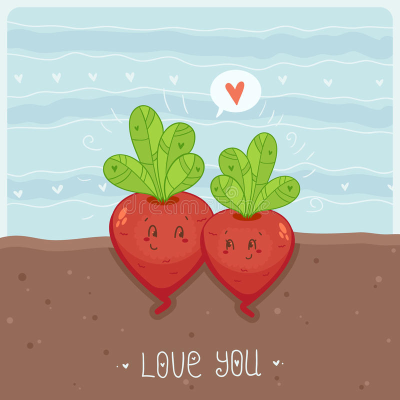 Love You. Card with Cute growing beetroots stock illustration