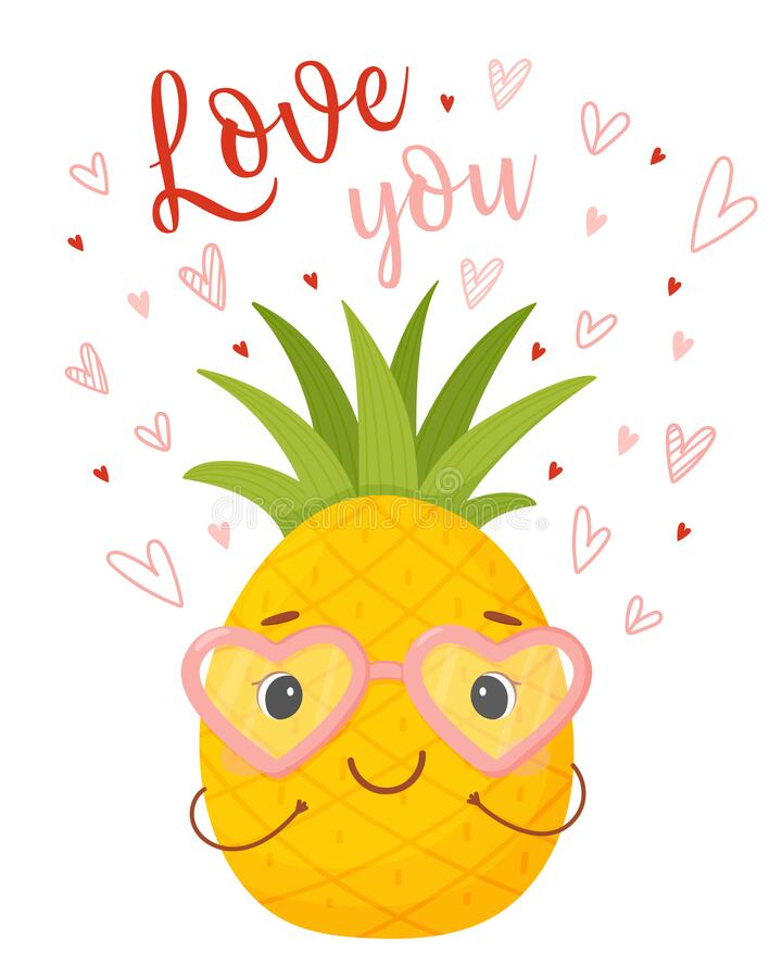 Love you. Cute cartoon character Pineapple royalty free stock photography