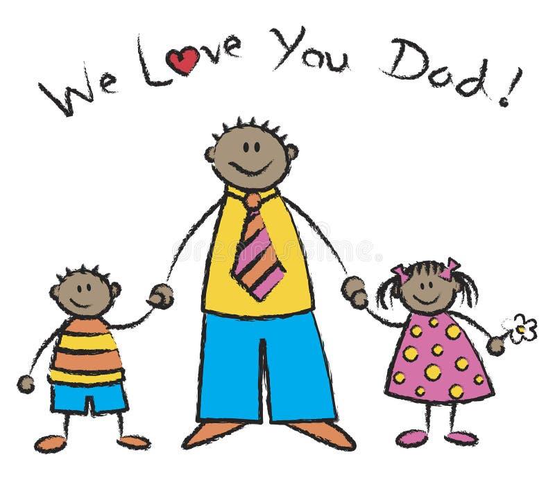 Download We Love You Dad Dark Skin Tone Stock Vector - Image: 2671158