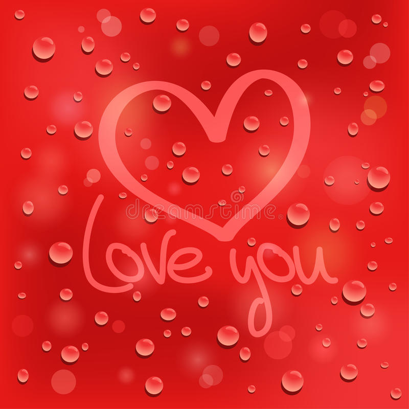 Love you. Drawn heart on the wet glass. Red backgr stock illustration