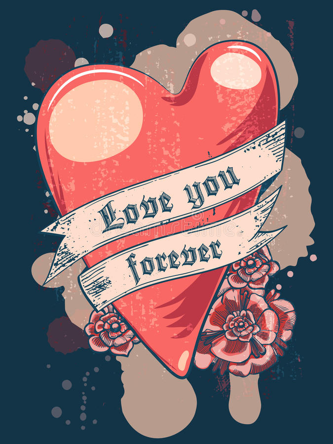 Love you forever. Heart with ribbon. T-shirt or poster design royalty free illustration