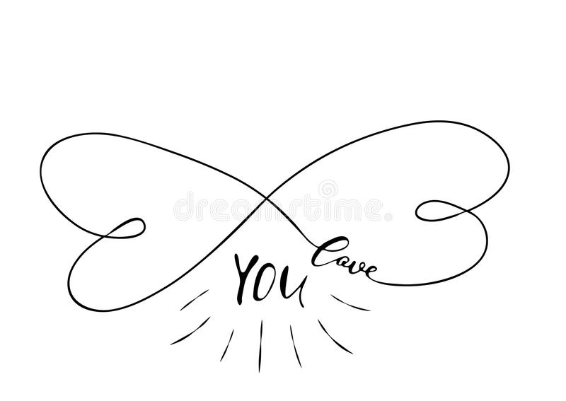 Love you - freehand ink inspirational romantic quote royalty free illustration