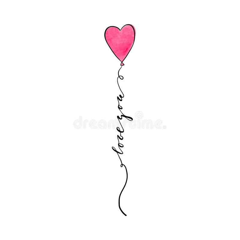 Love you Hand drawn brush pen lettering ribbon of watercolour heart isolated royalty free illustration