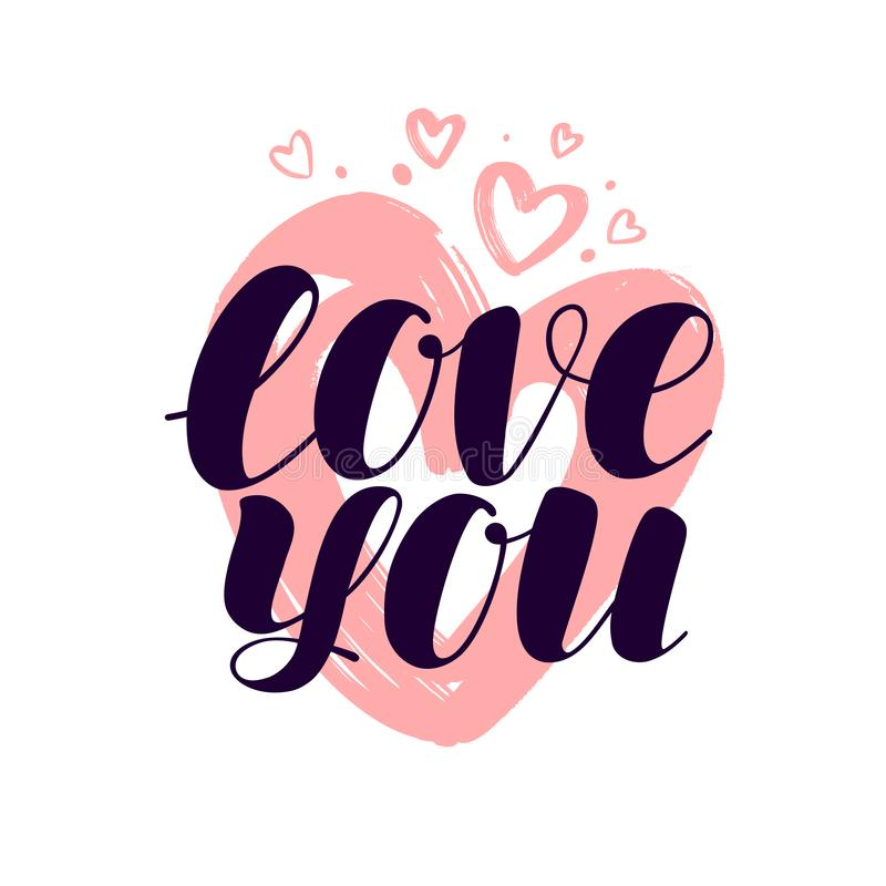 Love you, hand lettering. Valentine, calligraphy vector illustration. Isolated on white background vector illustration