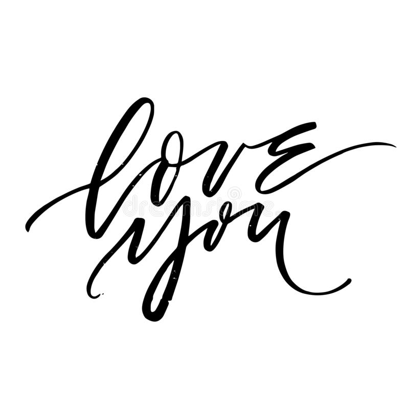 Love you - handwritten lettering on white background royalty free stock photo