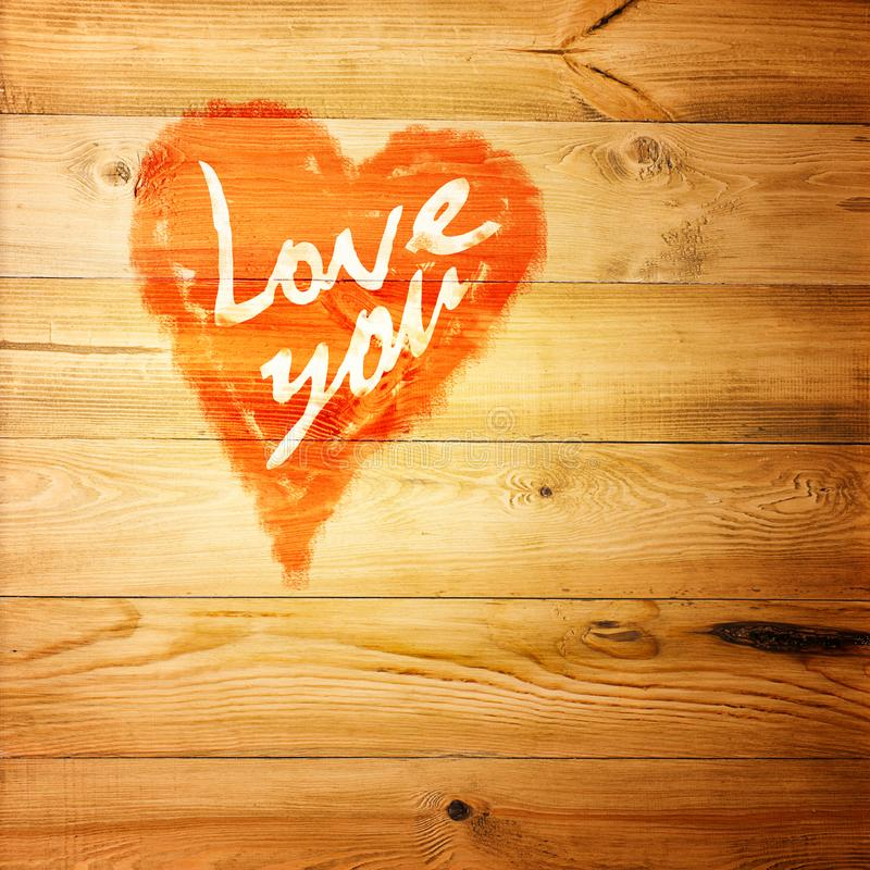 Love You Heart Greeting On Distressed Vintage Grunge Texture Wood Background Painted stock photography