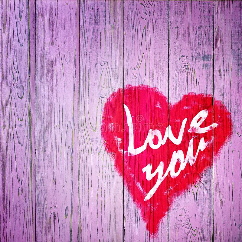 Love You Heart Greeting On Distressed Vintage Grunge Texture Wood Background Painted royalty free stock image