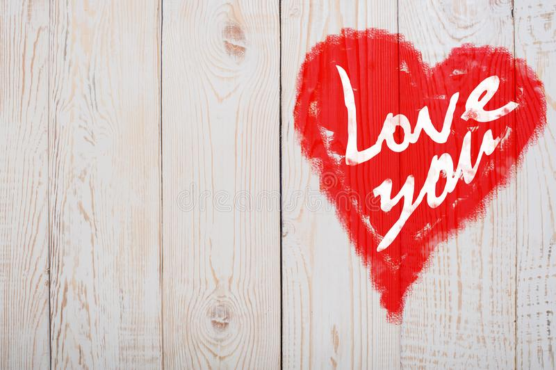 Love You Heart Greeting On Distressed Vintage Grunge Texture Wood Background Painted royalty free stock images