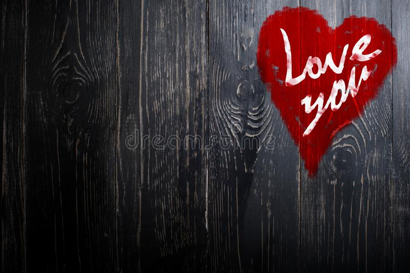 Love You Heart Greeting On Distressed Vintage Grunge Texture Wood Background Painted royalty free stock photography