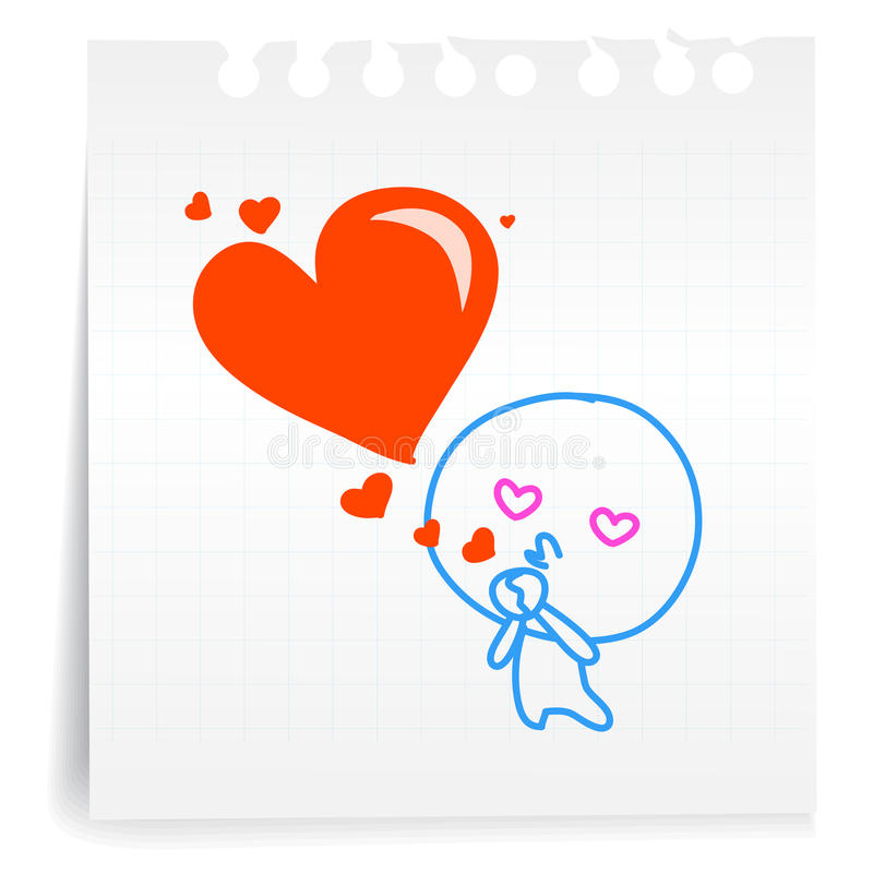 Love You Kiss Love Cartoon_on Paper Note Stock Photos