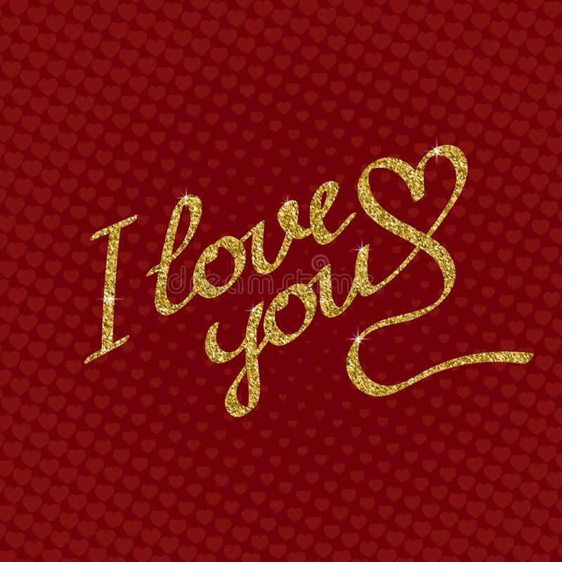 Love you lettering of golden sparkles on red background with hearts. Greeting card template for Valentine`s day stock illustration