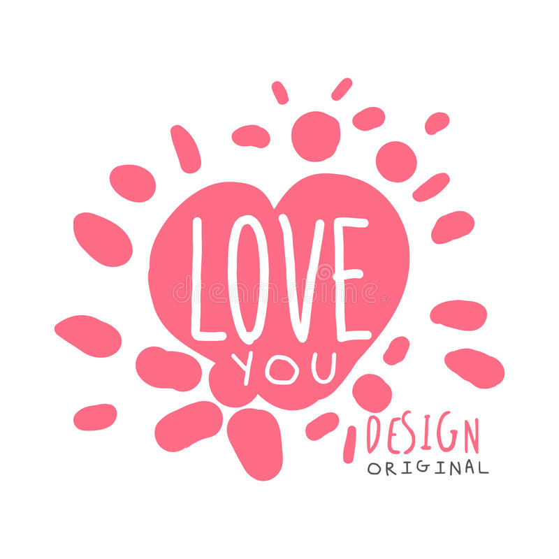 Love you logo template original design, colorful hand drawn vector Illustration in pink colors royalty free illustration