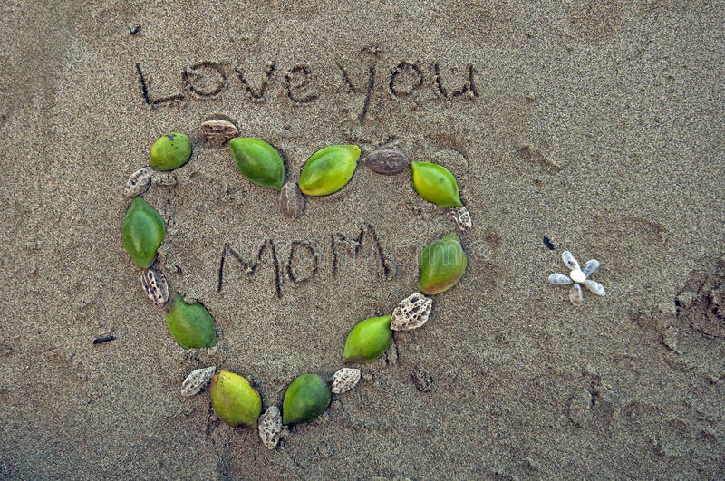 Love you Mom. Tropical beach royalty free stock image