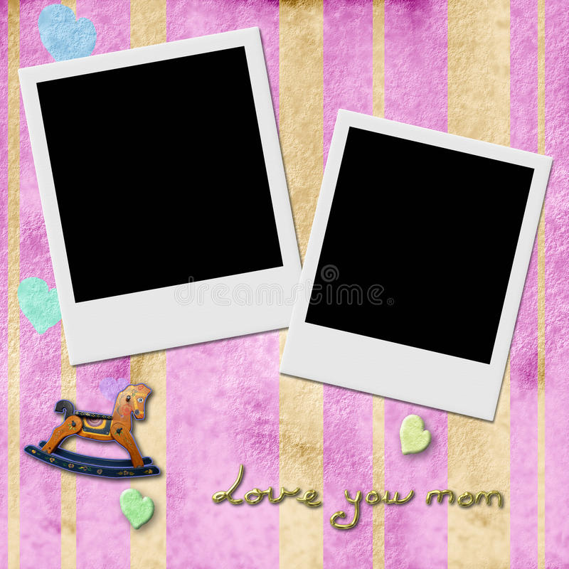Love You Mom, Two Instant Photo Frames In Pink Stock Illustration ...