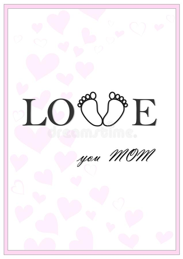 Love you mom vertical pink greeting card vector vector illustration