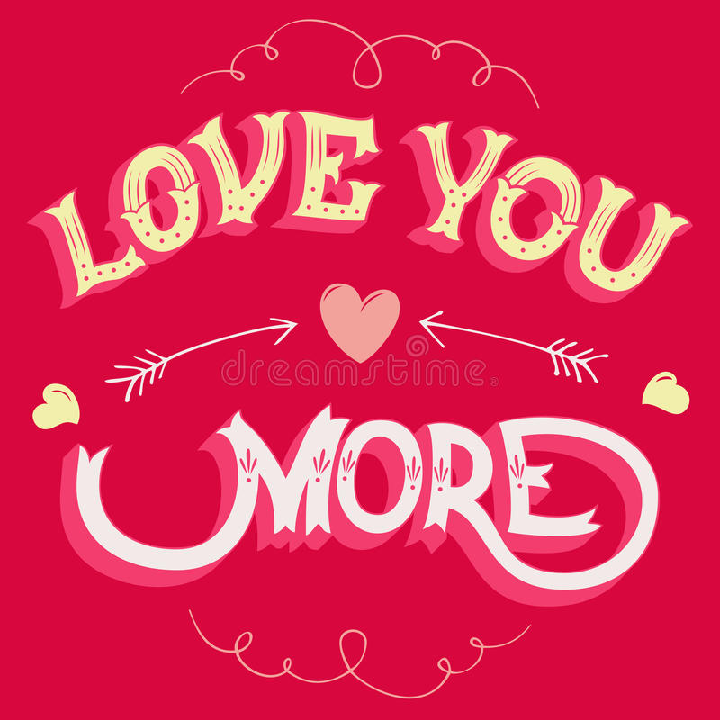Love you more greeting card royalty free illustration