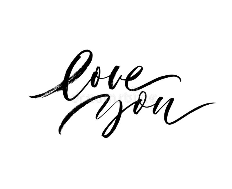 Love you phrase. Happy Valentine`s day quote. Vector hand drawn brush style modern calligraphy. royalty free illustration