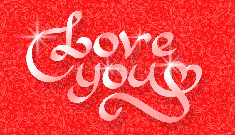 Love you ribbon lettering on red floral patterned background. Greeting card template for Valentine`s day royalty free illustration