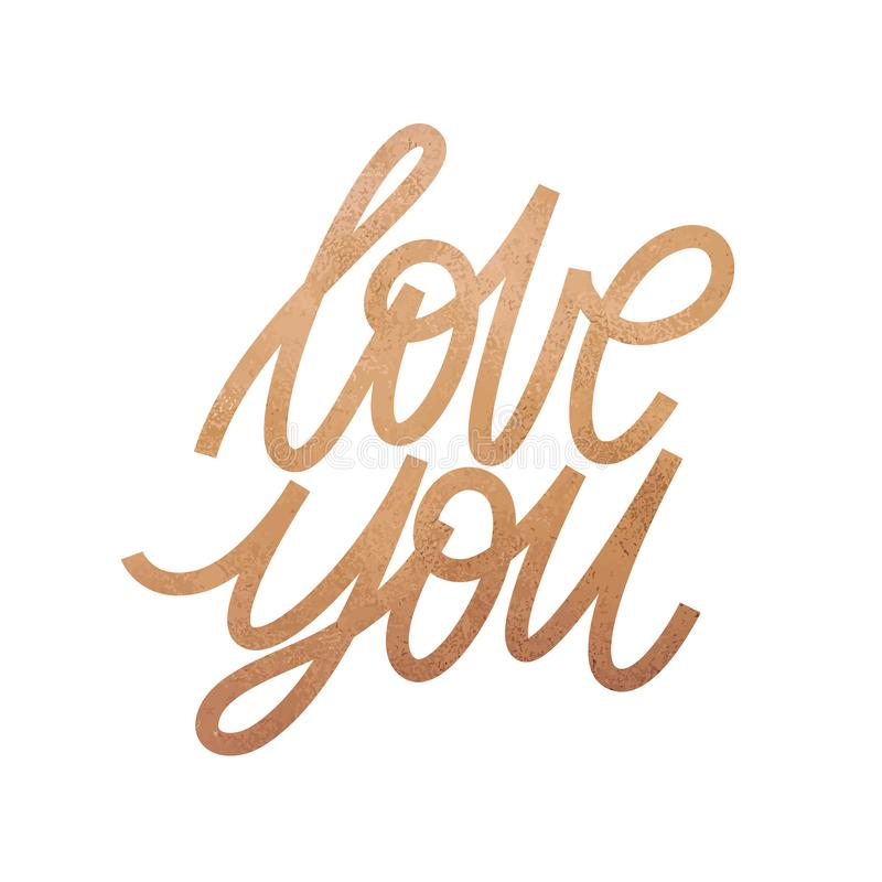 Love you. Romantic lettering with modern hand writing calligraphic with golden rose trendy color. Vector illustration. This concep vector illustration