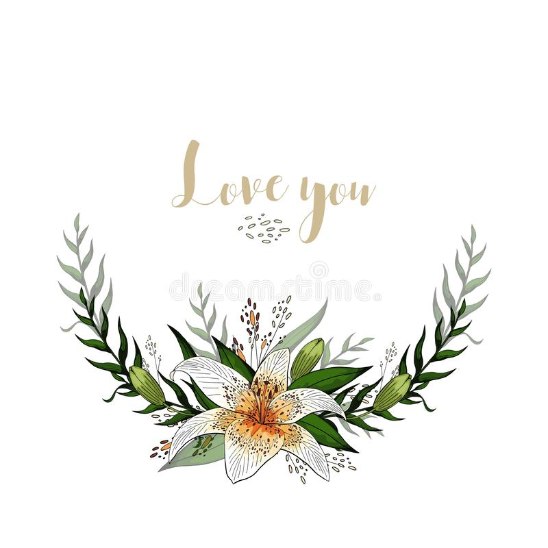Love you postcard half wreath with lily flowers and lettering vector illustration