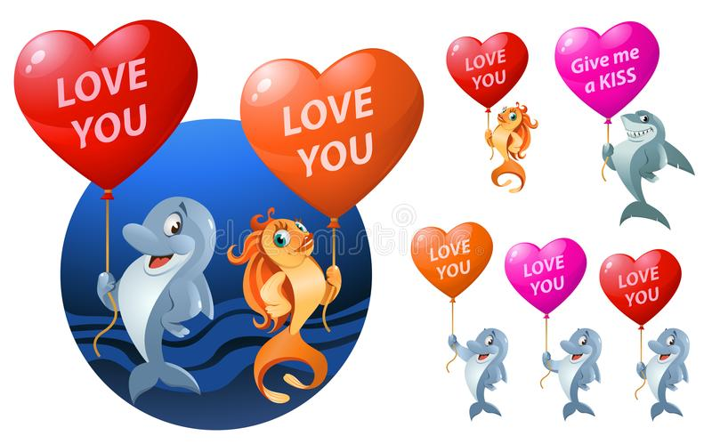 Love you. Set of funny sea inhabitants holding heart shape stock illustration