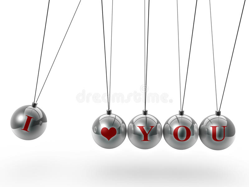 Download Love You Symbol On Newton's Cradle Stock Illustration - Image: 19520048