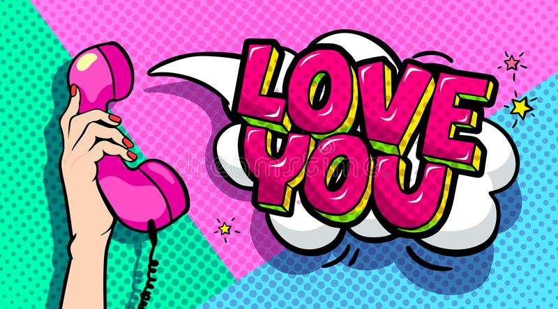 Love you word bubble in pop art comics style. stock illustration