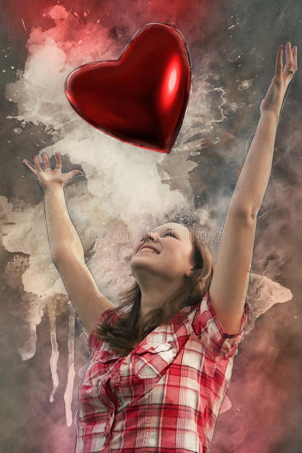 An in love young girl with heart stock image