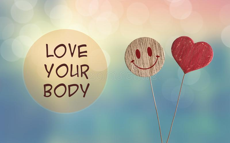 Love your body with heart and smile emoji royalty free stock image