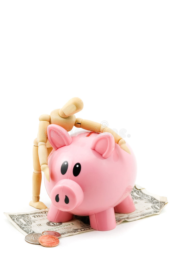 Love Your Cash. Wooden mannequin hugs his pink piggy bank - isolated on white - bank standing on dollar bill with change in front royalty free stock images