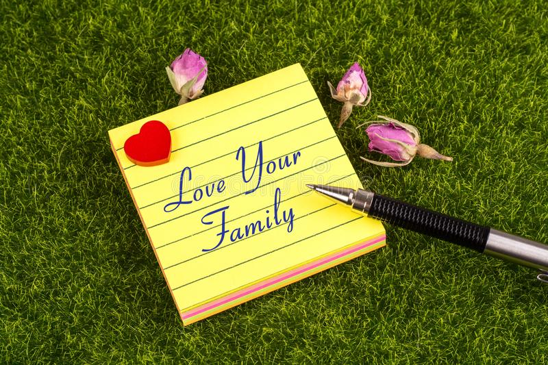 Love your family note. Love your family in sticky note with heart , pen and dried rose on grass royalty free stock photography