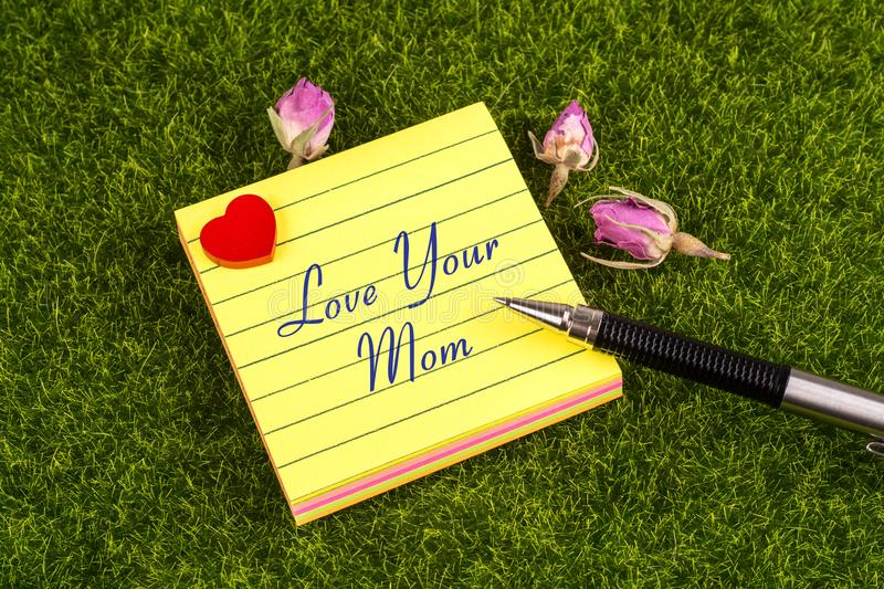 Love your mom note stock image