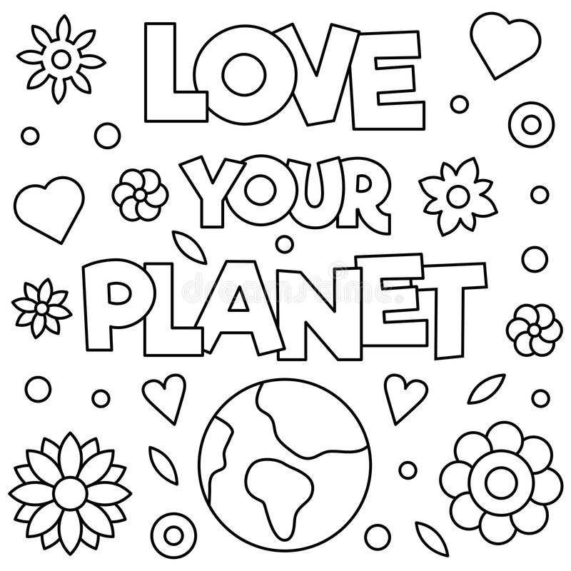 love your planet coloring page vector illustration stock vector