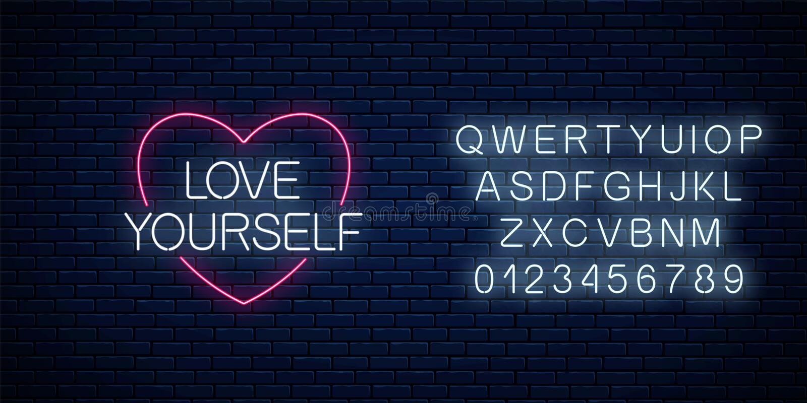 Love yourself - glowing neon inscription phrase with alphabet. Motivation quote in neon style. Vector illustration. Love yourself - glowing neon inscription royalty free stock photos