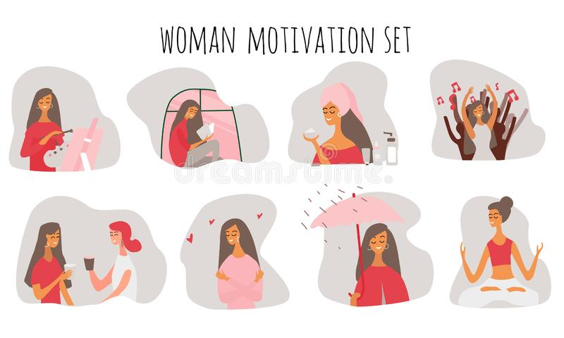 Love yourself. Happy lifestyle concept. Girl or woman take time for your self: read books, go events, create, be positive. Love yourself. Happy lifestyle stock illustration