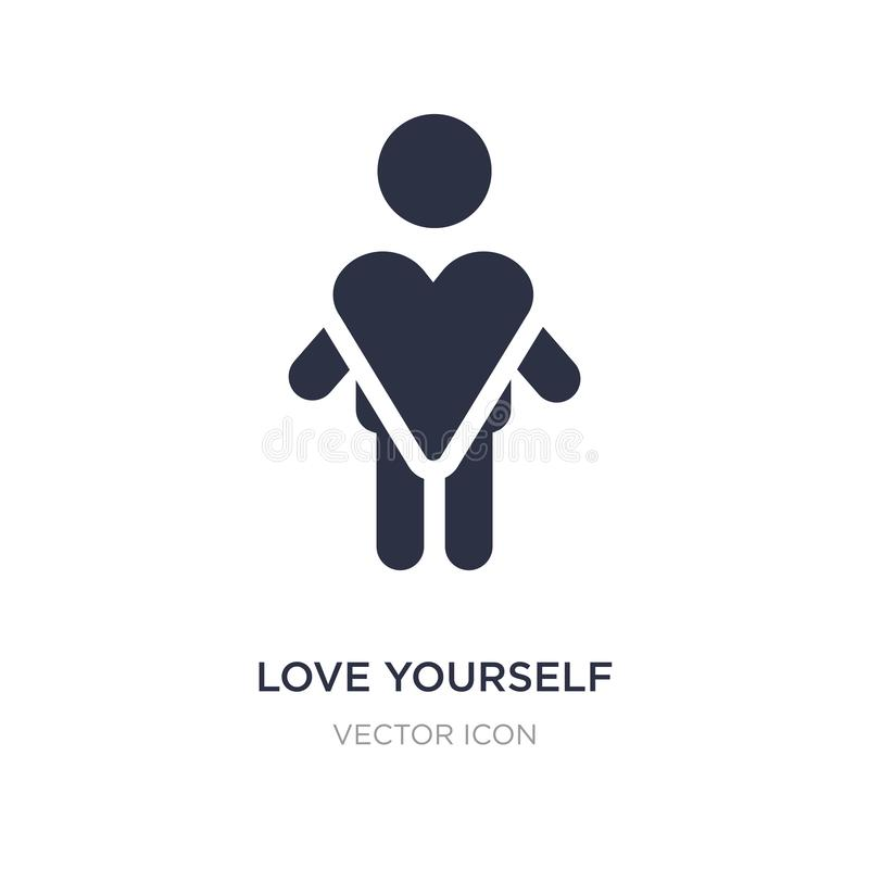 love yourself icon on white background. Simple element illustration from People concept stock illustration