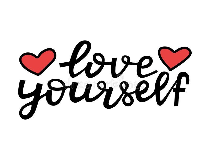 Love yourself - motivational quote. Modern brush pen lettering. Love yourself handwritten black text with hearts. Hand. Made printable design, trendy phrase for vector illustration