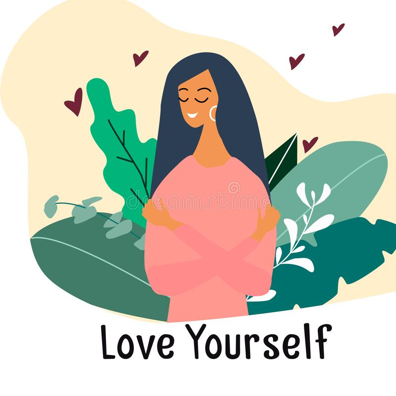 Free Love Yourself. Narcissistic, Self-confident Girl Hugged Herself. Vector Concept Card Or Postcard With Cute Smiling Young Girl Royalty Free Stock Photography - 158618017