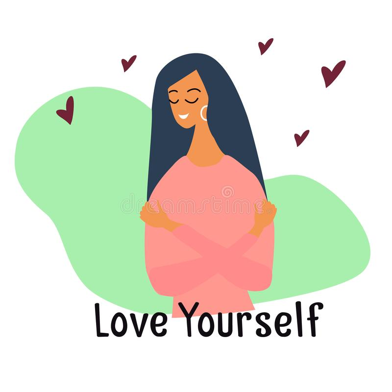 Free Love Yourself. Narcissistic, Self-confident Girl Hugged Herself. Vector Concept Card Or With Cute Smiling Young Girl With Hearts Stock Images - 158616634