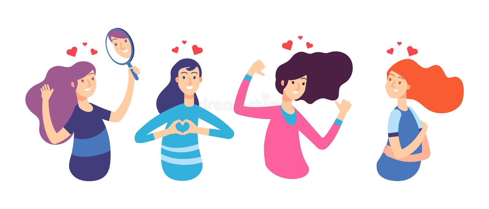 Love yourself. Narcissistic, self-confident people hugged themselves. Loving oneself men and women. Vector characters stock illustration