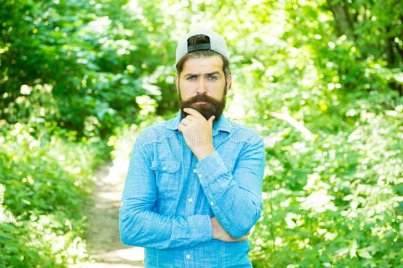 Love yourself. serious bearded man. Mature hipster with beard. male facial care. brutal man with beard. barber. hispter. Style. Fashion portrait of man. Hair royalty free stock photo