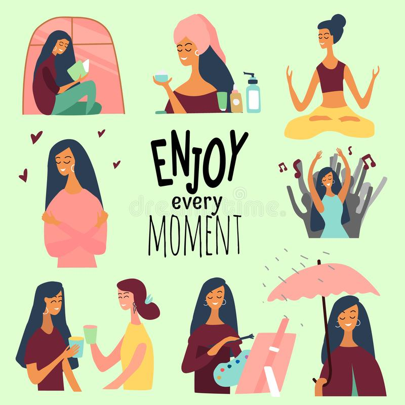 Love yourself set. Vector lifestyle concept card with text enjoy every moment.  Motivation to take time for yourself. Love yourself set. Vector lifestyle vector illustration