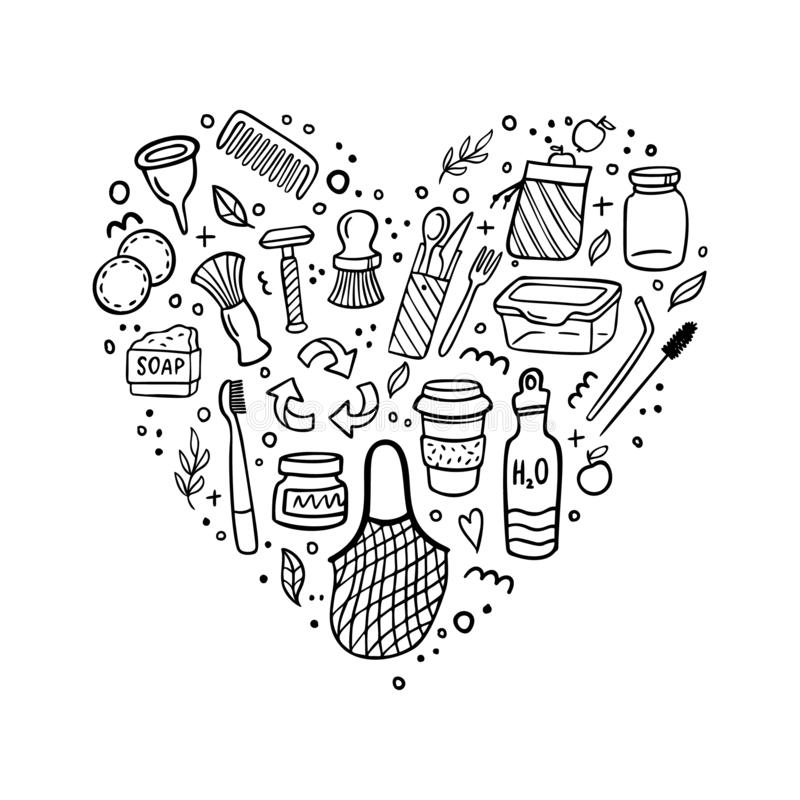 We love zero waste. Hand-drawn elements in eco-style. Doodle Vector illustration. Good for logo, posters, banners, web design, books, flyer or cards royalty free illustration