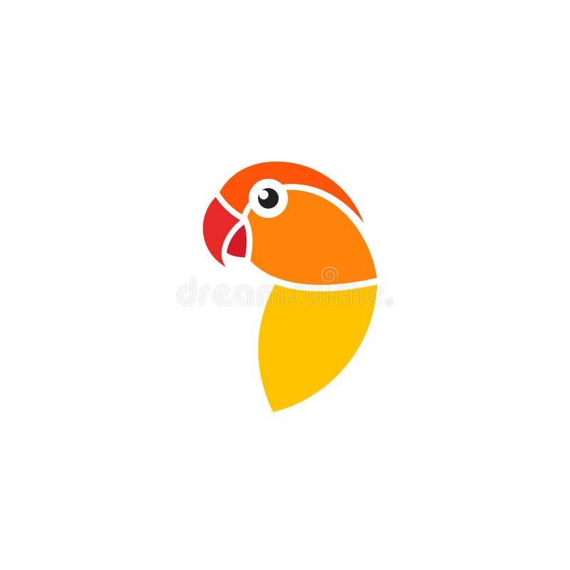 lovebird Lokalisierter Papagei auf weißem Hintergrund stock abbildung
