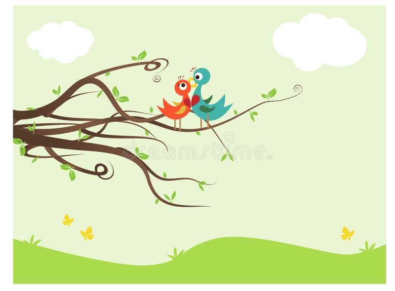 lovebirds royaltyfri illustrationer