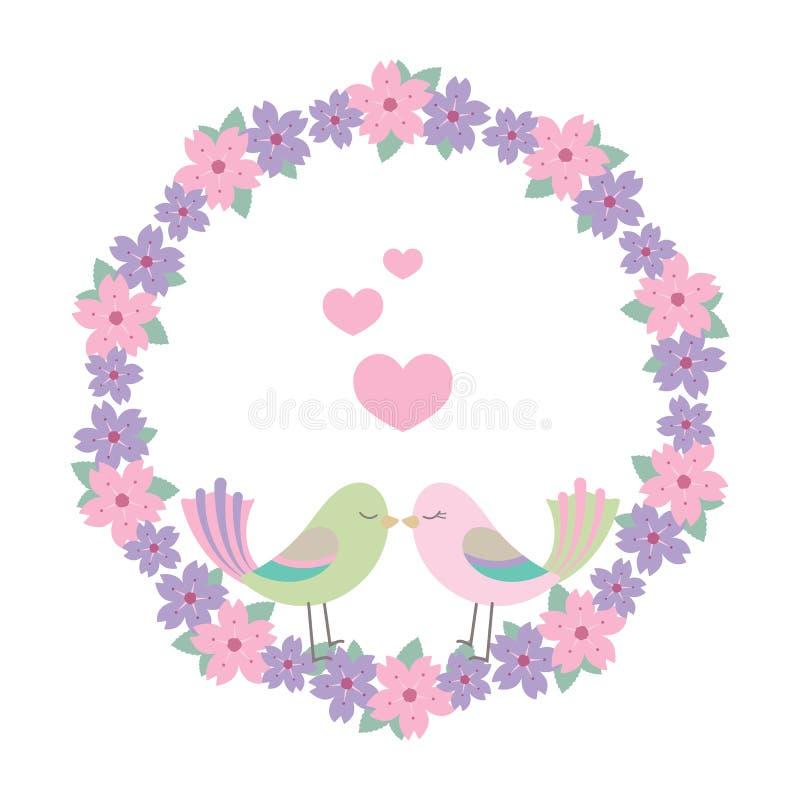 Lovebirds i kwiecista wianek ilustracja royalty ilustracja