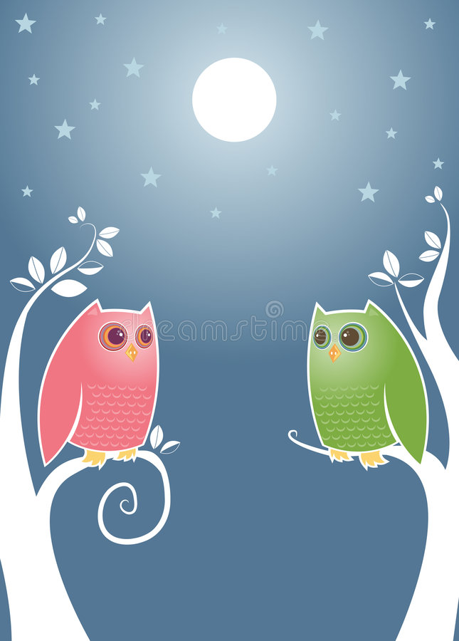 Lovebirds At Night Royalty Free Stock Photography