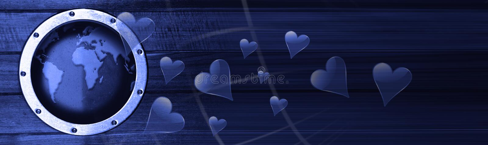 Loveboat. The heart of the ship from the camera vector illustration
