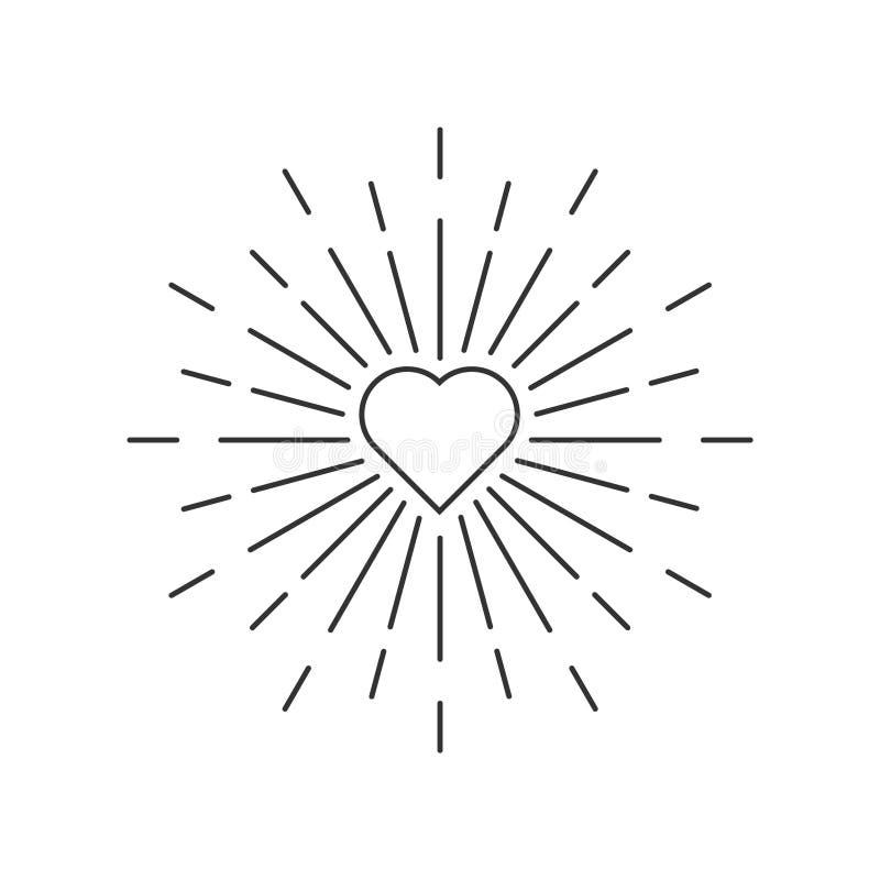 Loveburst, Liebe sprengte oder liebt helle Linie Kunstelement stock abbildung
