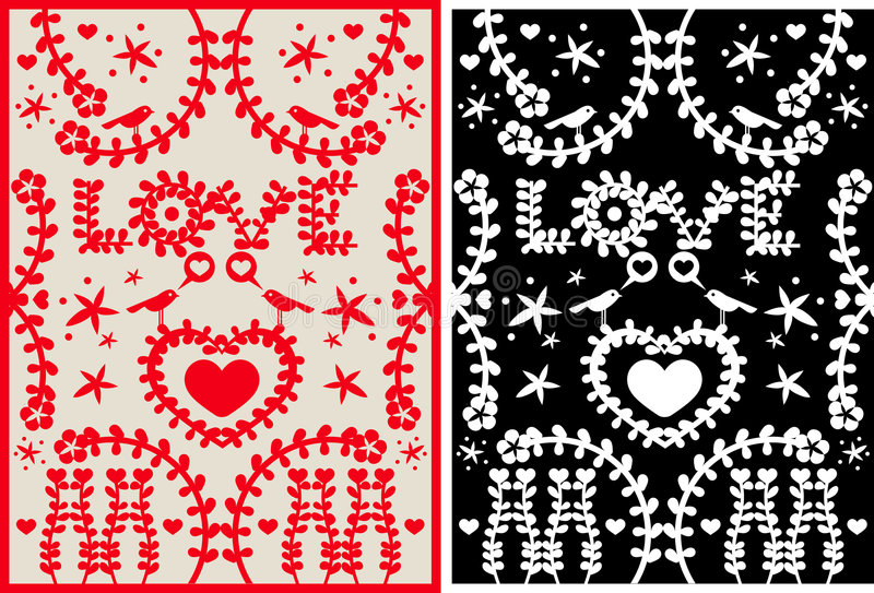 LoveCarpet. Greeting Card of Love with elements like bird, flowers, stars and hearth shapes stock illustration